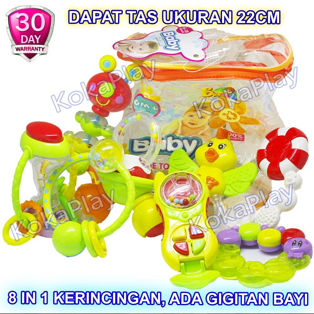 KokaPlay Premium Baby Gift Set Rattle Playset 8 in 1 Play Set Mainan Anak Bayi Kerincingan