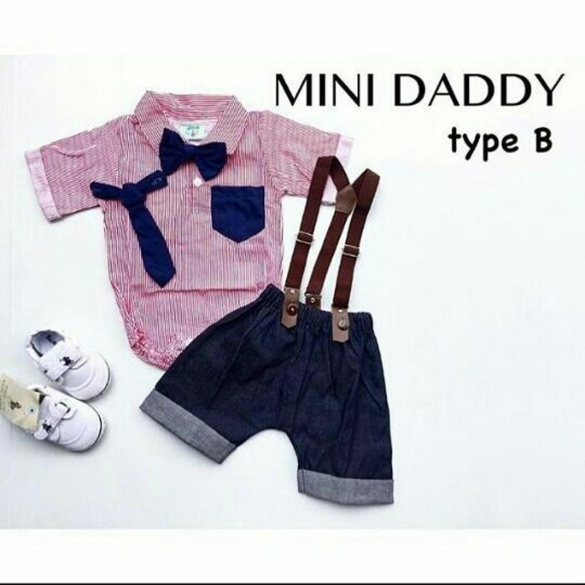 The Fairy Babyshop Baju pesta setelan jumper kemeja suspender 2 dasi anak bayi laki laki