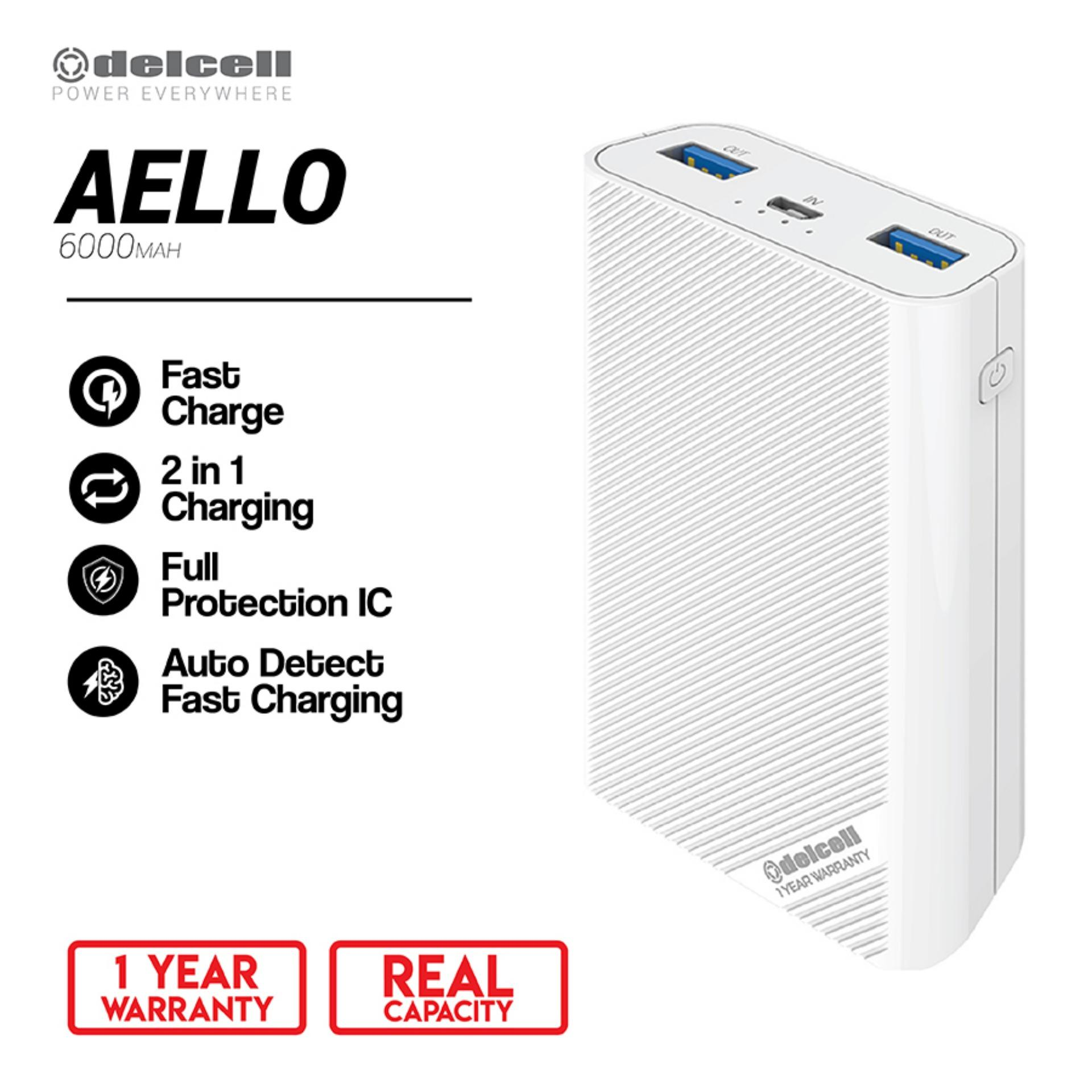 New Arrival Delcell 6000mAh Powerbank AELLO Real Capacity Small Power Bank Fast Charging Garansi Resmi 1