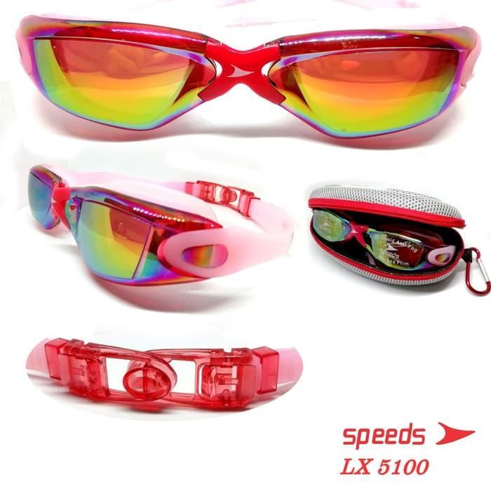 Kacamata Renang Dewasa Speeds LX 5100 Mirrored Anti Fog UV + Earplug 11b3aa720f