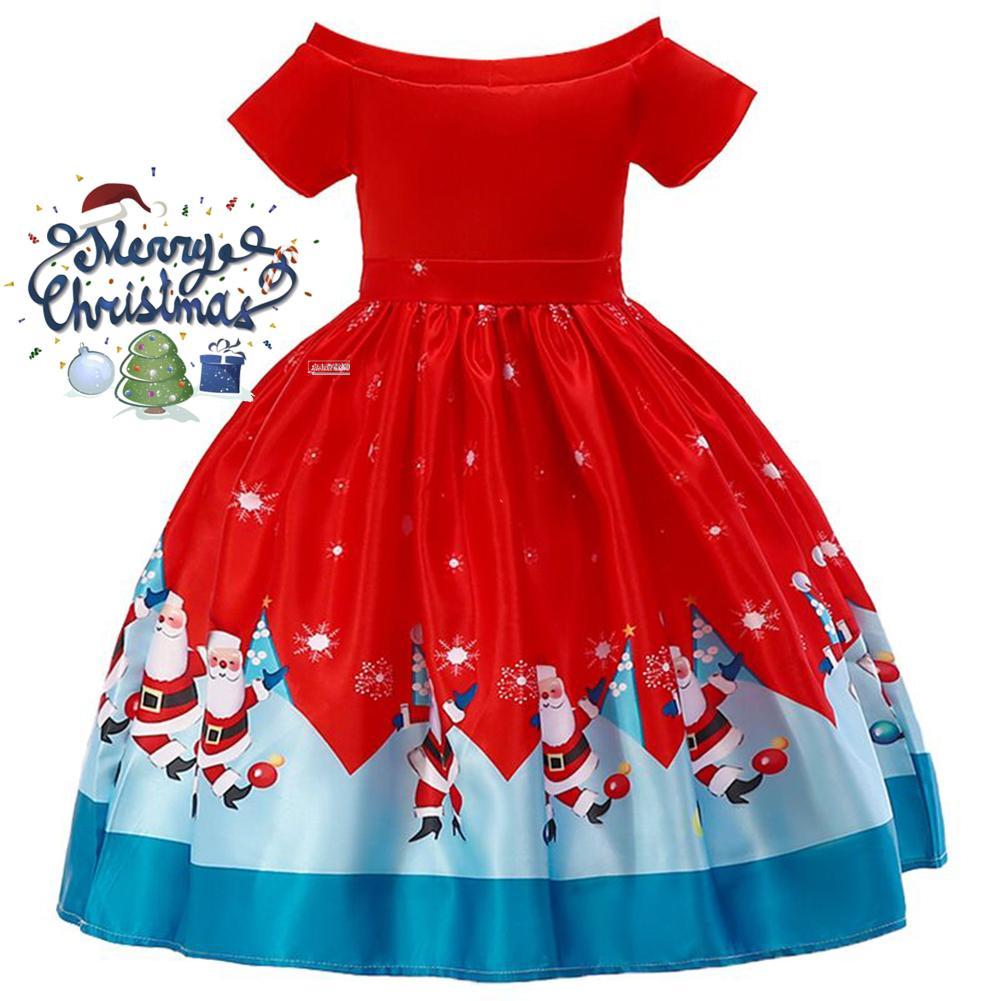 Gadis Baju Natal Santa Claus Kepingan Salju Renda Gaun Patchwork Kartun Gaun Cetakan