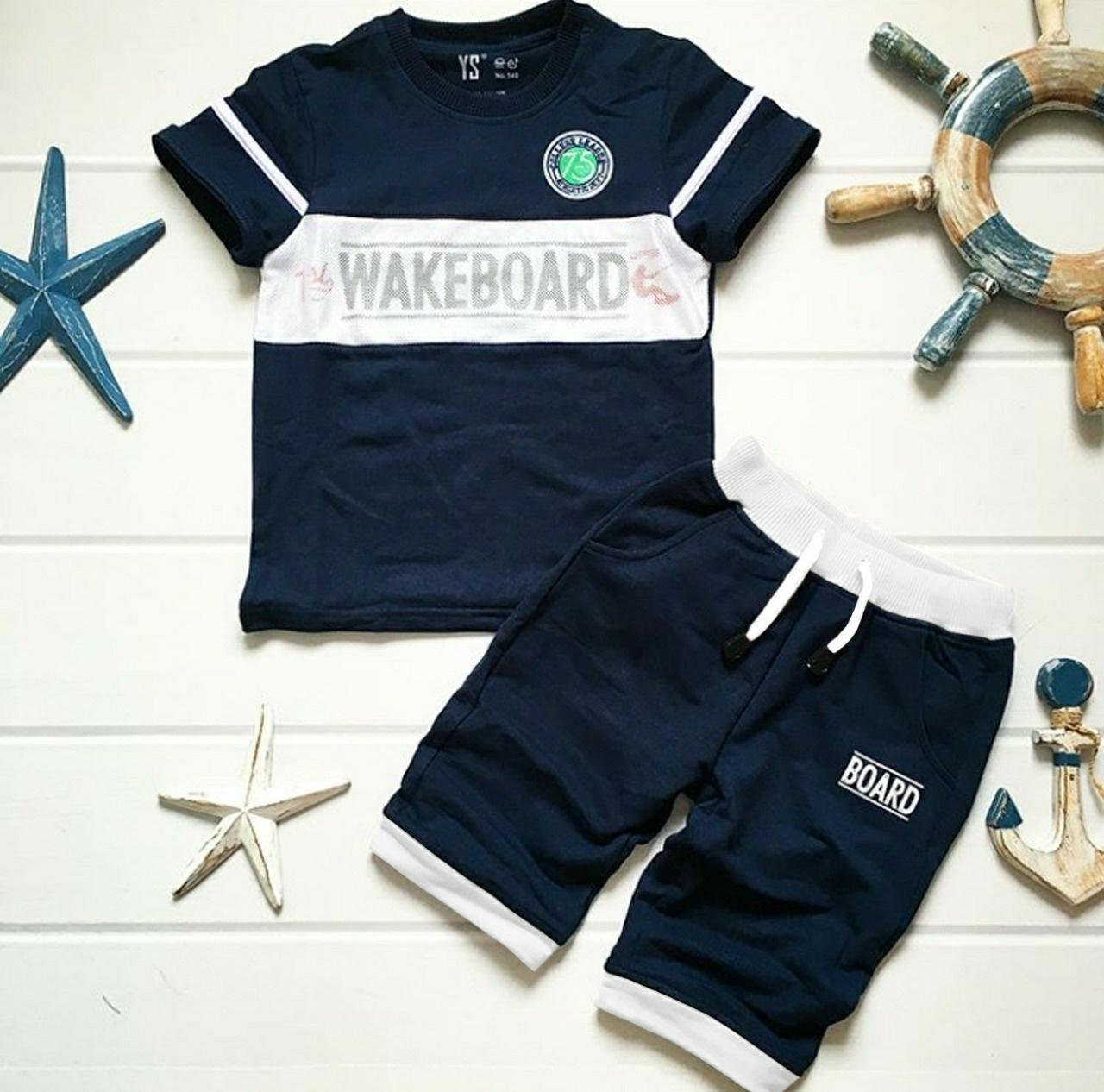 Grosir Hasanah Stelan Kids 2in1 Set wakeboard / Atasan Celana Pendek kids / Fashion Stelan Anak