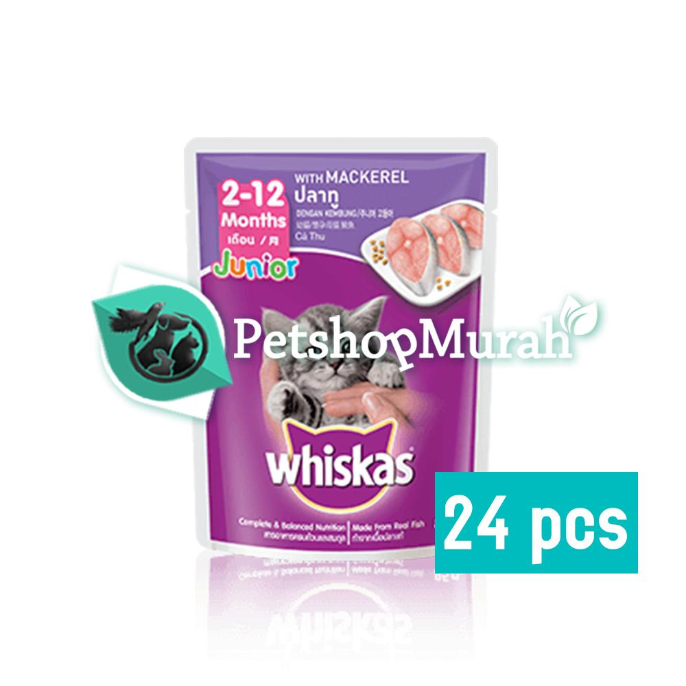 Makanan Kucing Whiskas Junior Mackarel 85 gram / Whiskas Kitten Pouch / Sachet 85gram 24 pcs