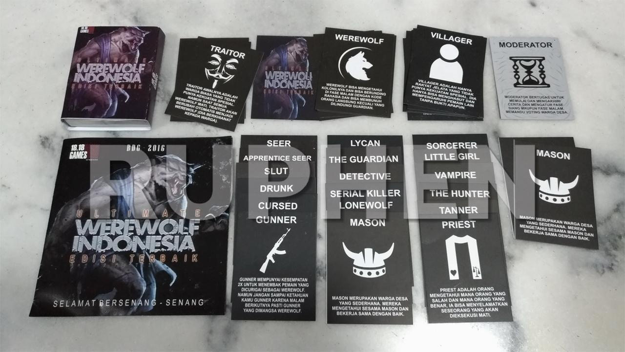RPN Werewolf / Mafia Card Game Indonesia 36 cards / 21 roles (35 Players)