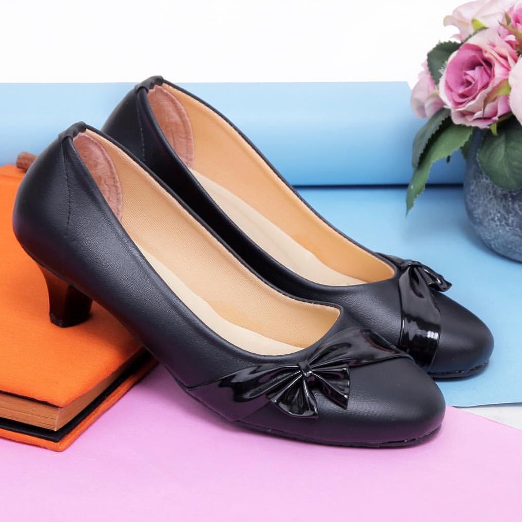 bondshop - Sepatu Pantofel High Heels Wanita Sepatu Formal Wanita Sepatu Kerja Wanita Hitam