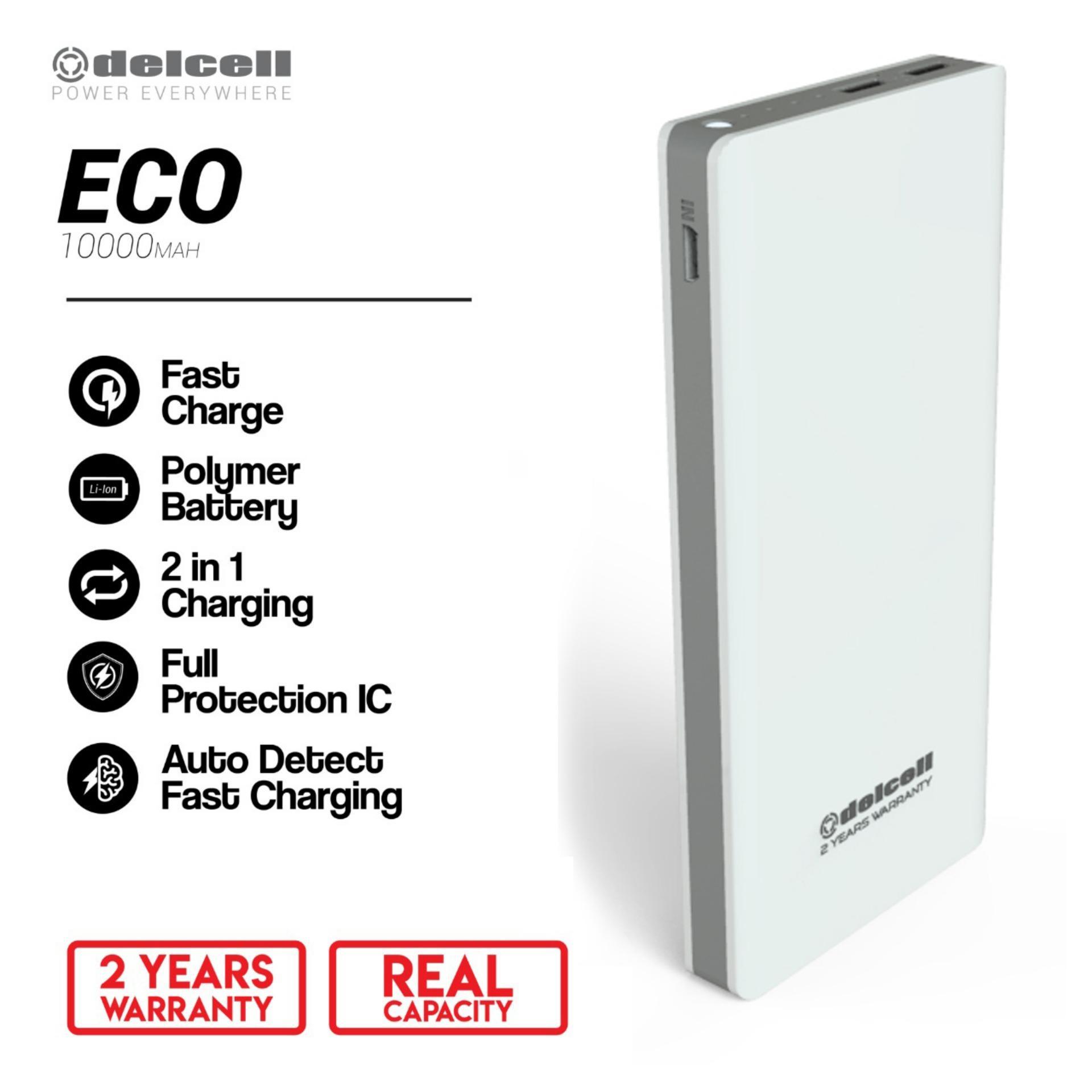 Delcell 10000mAh Powerbank ECO Real Capacity Fast Charging Slim Powerbank Polymer Battery Garansi Resmi 1 Tahun