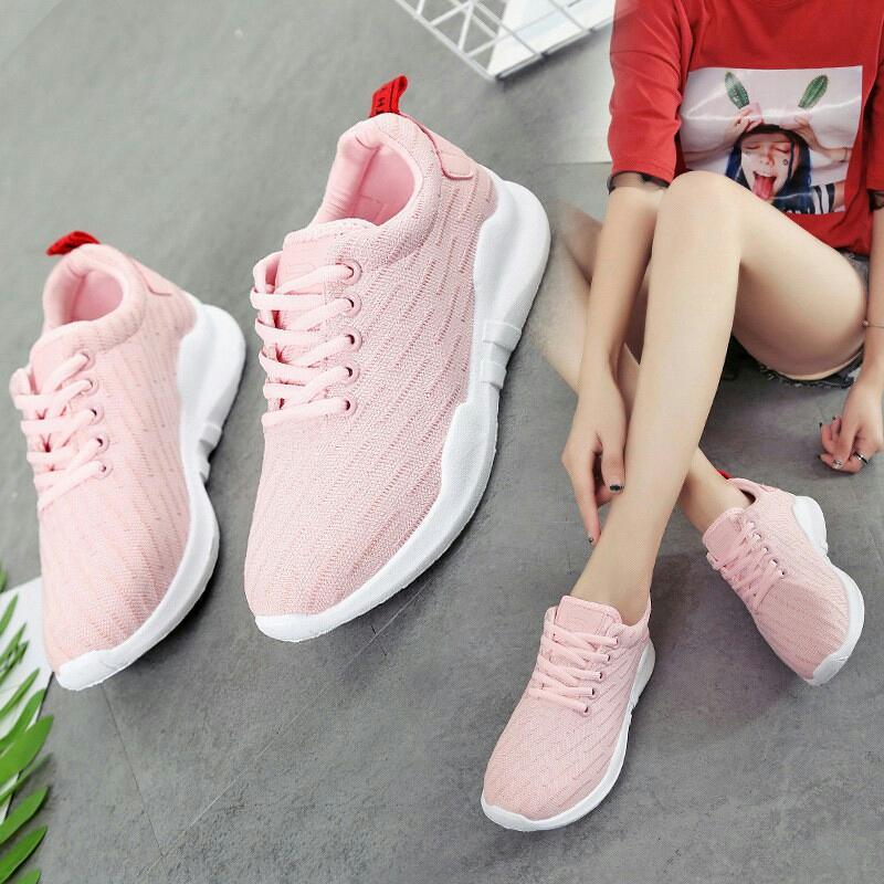 DISTROBOGOR Sepatu Kets Sneaker Wanita/Pria PP 002 - Kets - Sepatu Santai Pink Hitam