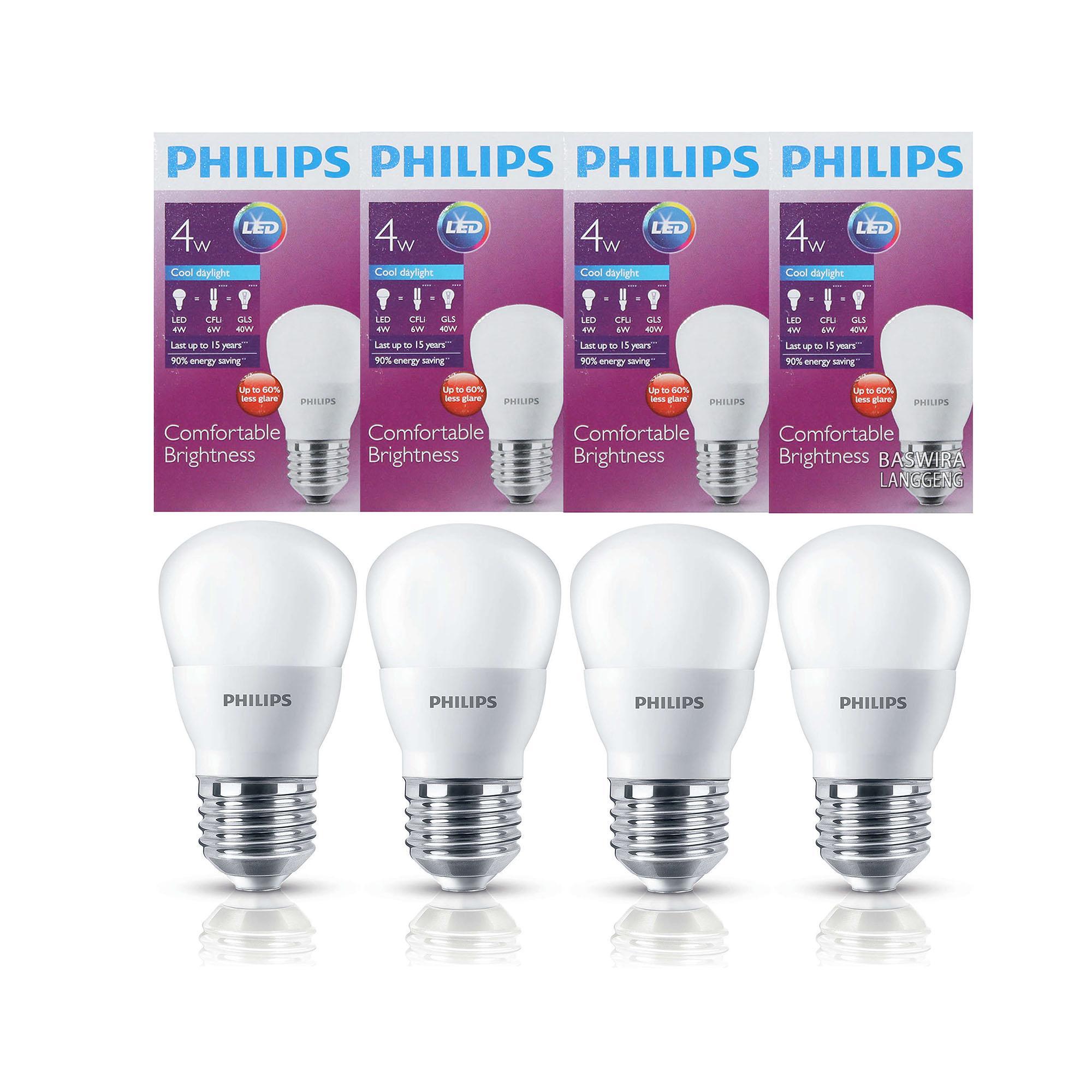 PHILIPS Lampu Led Bulb 4 Watt 4 W 4Wat 4W Putih Paket 4 .