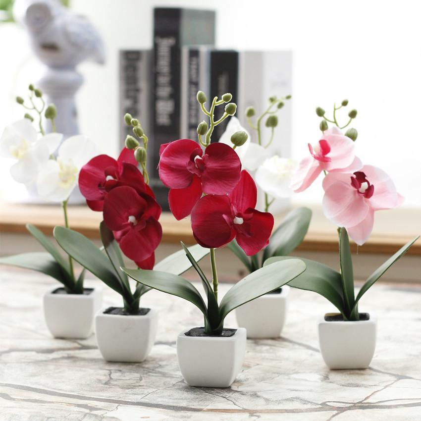 SangAdam Bunga Anggrek Mini hiasan ruang tamu dan kantor bunga palsu 85284f4d1b