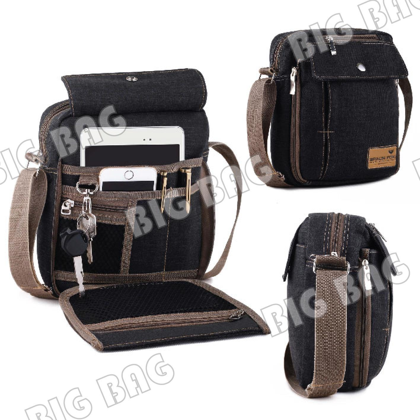Tas Selempang Pria / Wanita Kanvas Braun Fox Canvas Multifunction Shoulder Bag BP-05 -