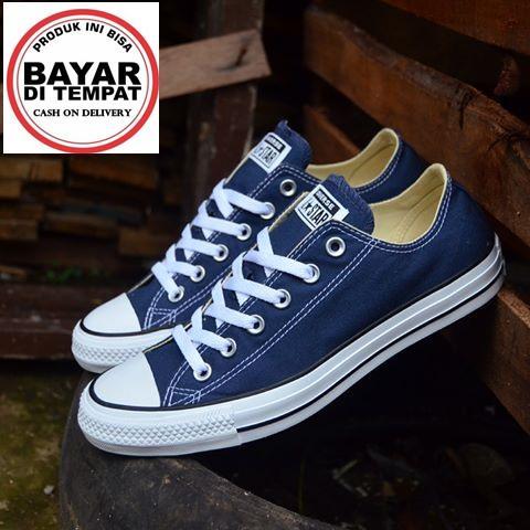 Sepatu Kets Pria Wanita All Star Hi Low Chuck Tailor Lunarlon Navy List +Bok