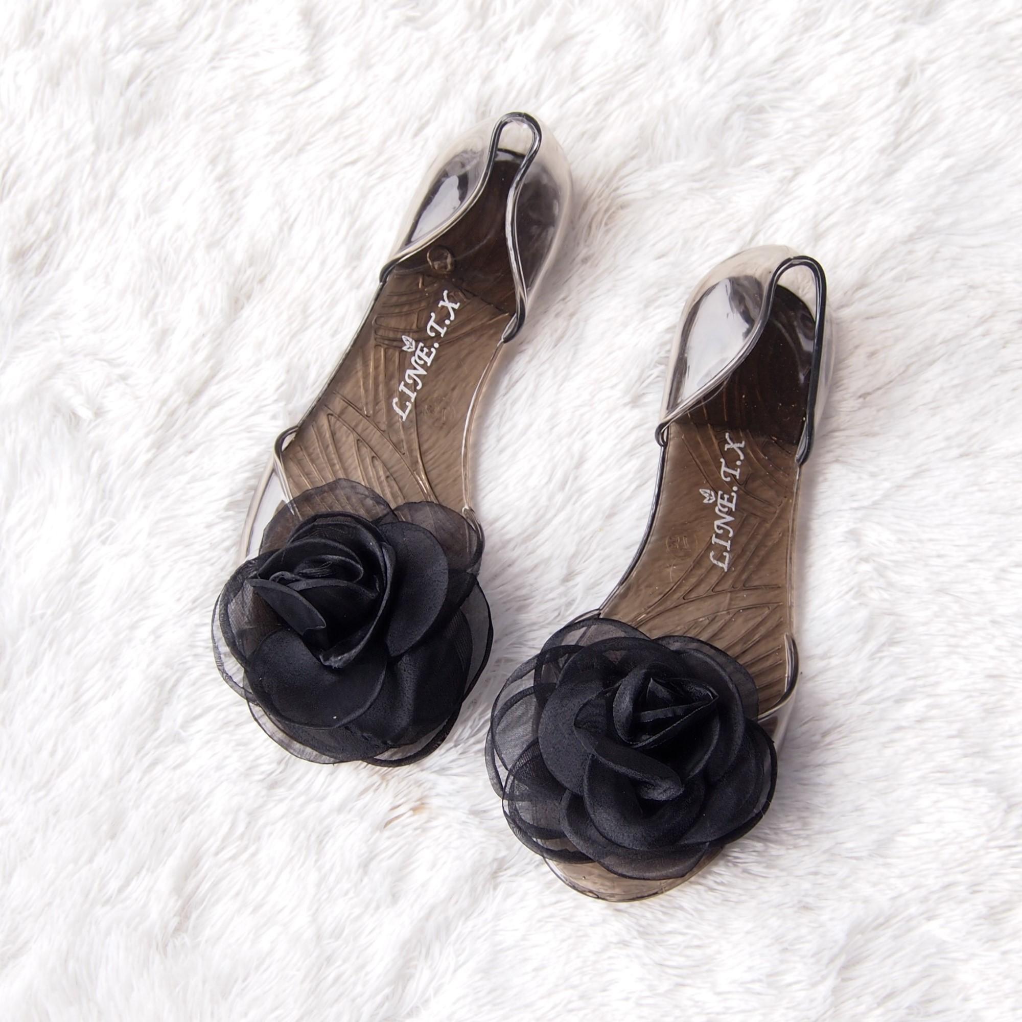 Transparan Besar Bunga Sandal Sepatu Jelly Mawar Merah Muda Daftar Lusty Bunny Bunyi Renda 2 Fuschia21 Ballet Rose 1681 Warna Random