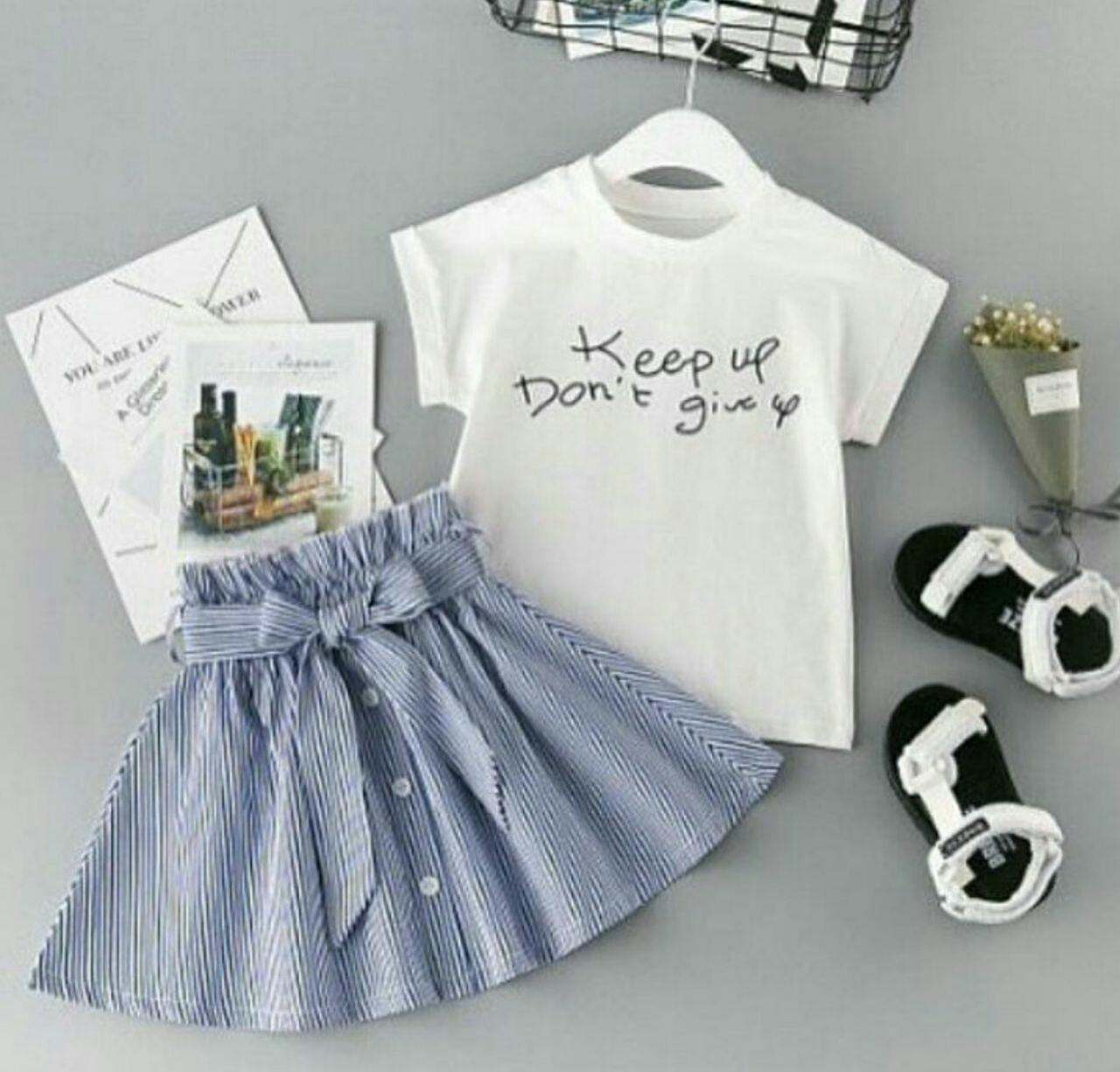 Fortune Fashion Set Give Up Kid 2 Warna / Stelan Baju Anak Perempuan