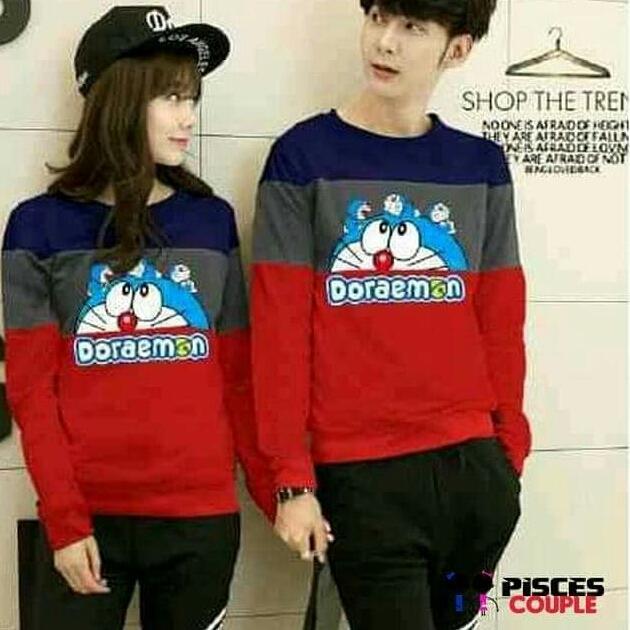 Tj-sweater couple doraemon combinasi-sweater couple navy merah-sweater kembaran