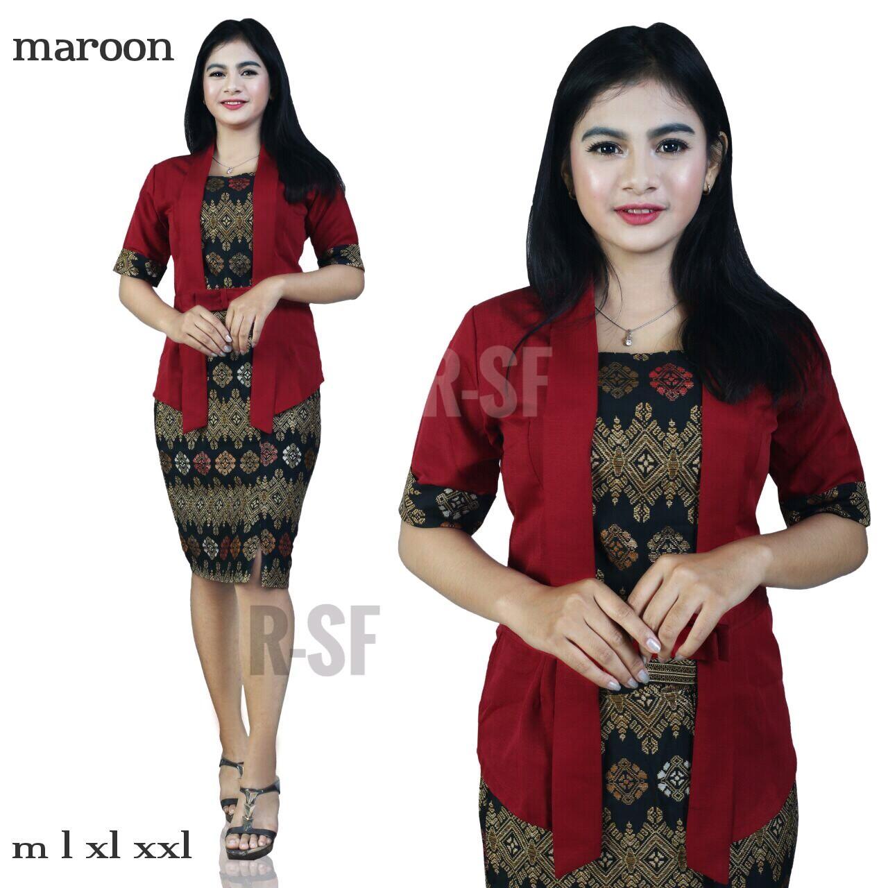 SB Collection Stelan Atasan Kebaya Kintan Blouse Dan Rok Span Pendek Jumbo Batik Wanita Tersedia S M L