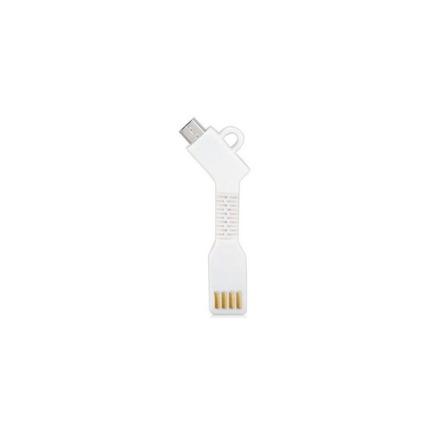1.5CM Micro USB Charging Data Cable with Key ChainWhite