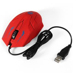 1.5m Cable 3D USB Wired Optical Gaming Mouse With 3000DPI For Desktop Laptop (Red) (Intl)