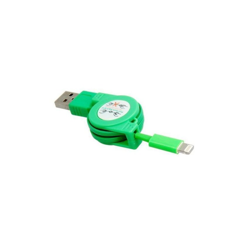 1 m Stretchable Data Charging Cable for iPhone 5 iPad mini iPad 4 iPod Touch 5 iPod Nano 7 Green