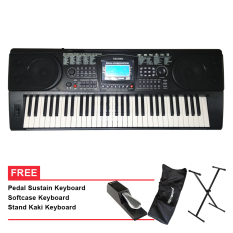 Techno Keyboard - T9890i -Hitam + Gratis Stand + Softcase + Sustain