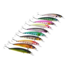 10pcs/lot Fishing Lures Swim Hard Bait Artificial Baits Minnow Fishing Bait Hook Multicolor
