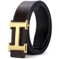 120CM (+ - 5CM) Fashion Style Men Cowskin Leather Belt MBT16H-3 (Coffee + Gold Buckle) - Intl