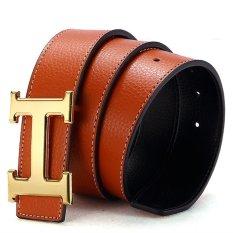 120CM (+ - 5CM) Fashion Style Men Cowskin Leather Belt MBT16H-5 (Brown + Gold Buckle) - Intl