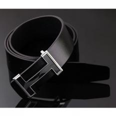 120CM (±5CM) Men New Korean Style Cow Leather Belt H Letter Buckle MBT209-1 Black
