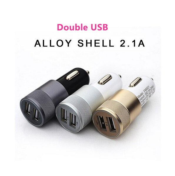 12V 2.1A&1A Aluminum 2 USB Ports Universal Dual USB Car Charger for iPhone 5 6 6 Plus/iPad 2 3 4 5/Samsung Galaxy S4 S5 (Blue) (Intl)