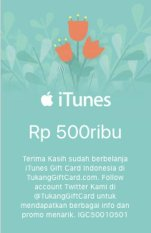 iTunes Gift Card Region Indonesia Rp. 500.000,-
