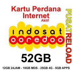 Perdana Internet INDOSAT Kuota 52GB - 12GB 24 Jam, 10GB MDS, 25GB 4G & 5GB Apps