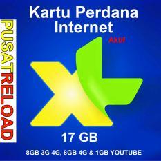 Perdana Internet XL Kuota 17 GB LITE - 8GB 3G 4G, 8GB 4G & 1GB YOUTUBE