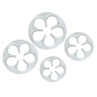 Rose Fondant Cake Cutter Plunger Set of 4 (White)