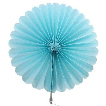 HKS 15cm Tissue Paper Fan Hanging Decoration (Blue) - Intl