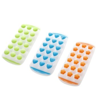 Easy Push Pop Out Ice Cube Tray Holder with Silicone Bottom Random Color