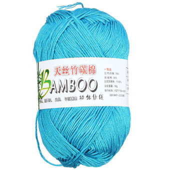 Natural Bamboo Cotton Knitting Soft Yarn Fingering Peacock Blue
