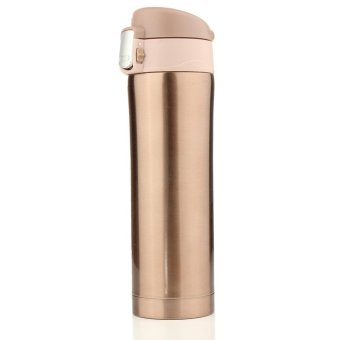 2PCS 500mL Travel Mug Tea Coffee Water Vacuum Cup Bottle Stainless Steel Thermos Cup Gold - intl