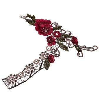 BolehDeals Embroidered Flower Lace Fabric Trim Applique Patch for Sewing Craft CL128 - intl