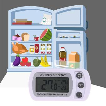 Waterproof LCD Freezer Refrigerator Thermometer Tool with Hanging Hook - intl