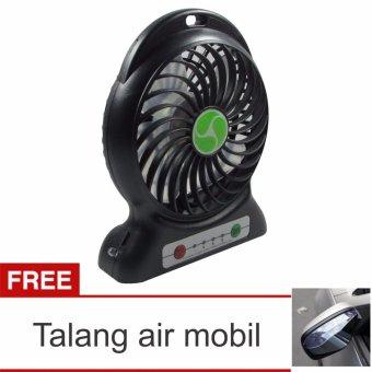 Lanjarjaya USB Mini Fan / Kipas Angin Rechargeable Baterai 18650 Li-ion - Hitam + Talang Air Mobil