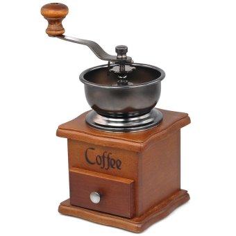 LZ Wooden Coffee Hand Bean Grinder Vintage Style Kitchen Accessories(Brown) - Intl - intl
