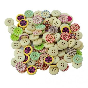 BolehDeals 100Pcs Printed Natural Wooden Round Buttons for Sewing Crafting 15mm - intl