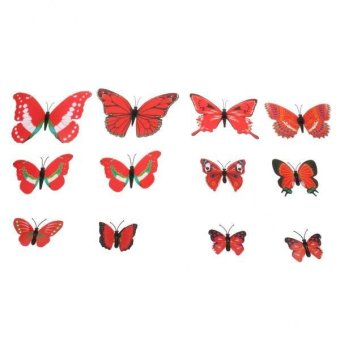 BolehDeals 12pcs Novelty Butterfly Wall Fridge Magnets Sticker Funny Refrigerator Toy - intl