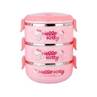 Rantang Makan 3 Susun Karakter Hello Kitty (Pink)
