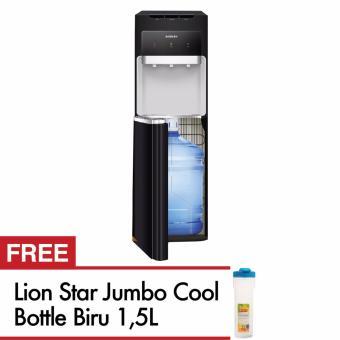 Sanken Dispenser Galon Bawah HWD-C106 Hitam + Lion Star Botol Minum 1,5 L Biru