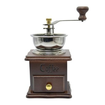 LZ Hy-208 Manual Vintage Bronze Coffee Grinder Household Retro Woodcoffee Mill With Procelain Movement Bean Grinder - intl