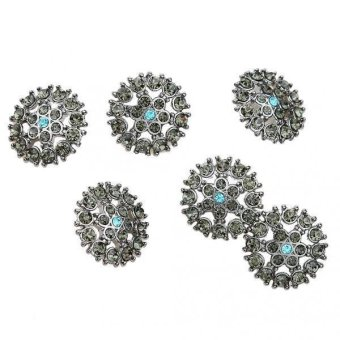BolehDeals 6Pcs Diamante Rhinestone Crystal Round Shank Buttons Sewing Craft 21mm - intl
