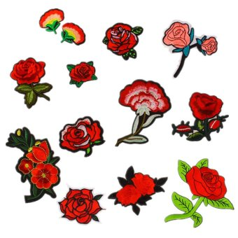 12 PCS Exquisite Red Flowers Pattern DIY Clothes Patches Stickers Embroidered Sew Patches 12 Styles Clothes Accessories for T-shirt Jeans Clothing Bags - intl