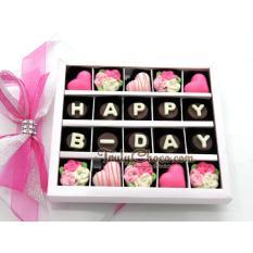 Trulychoco coklat hadiah ulang tahun -HAPPY B-DAY - Tutup Mika PINK