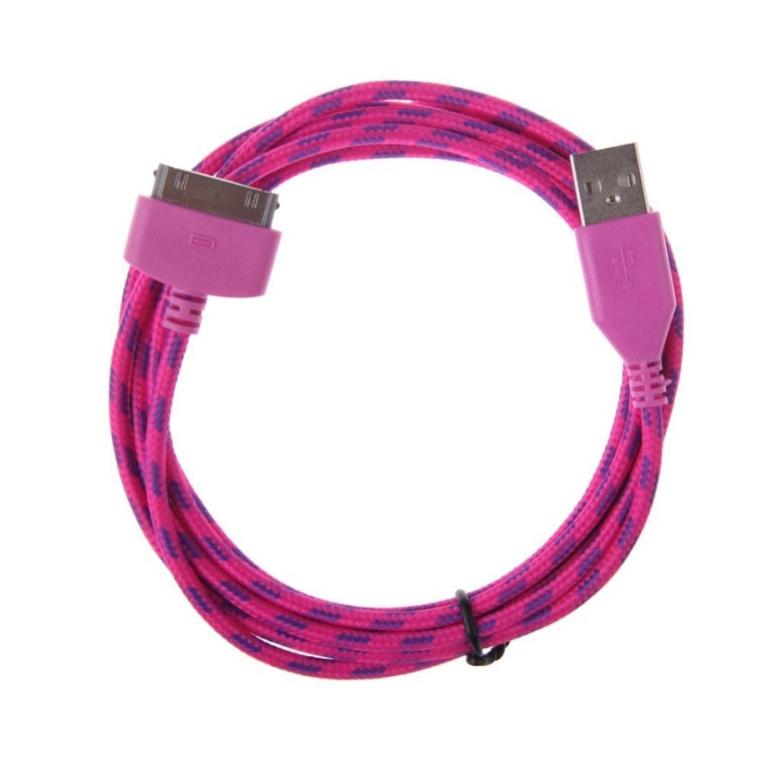1M 2M 3M USB Sync Data Charging Charger Cable For iPhone 4 4S 3GS iPod 4 iPad2 Rose Red