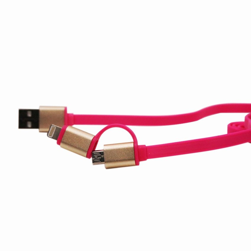 1m Ear 2in1 Micro USB Charging and Data Transfer Cable and 8 Pin Adapter For Phone 6 6 Plus 5 5S iPad Mini HTC Samsung Sony (Pink) (Intl)